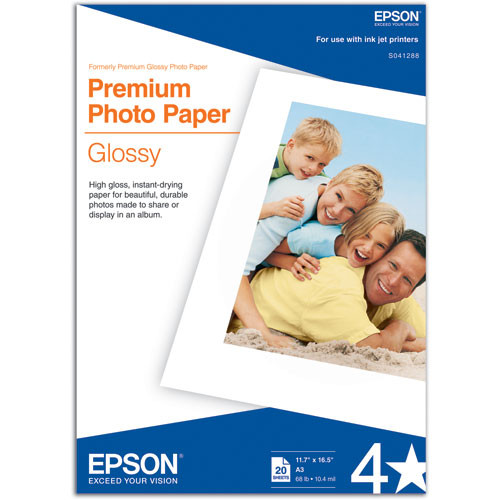 "Epson Premium Photo Paper Glossy (A3 11.7 x 16.5"", 20 Sheets)"