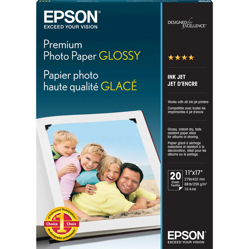 "Epson Premium Photo Paper Glossy (11 x 17"", 20 Sheets)"