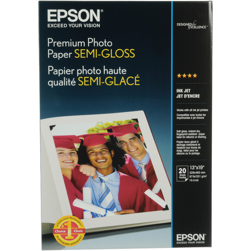 "Epson Premium Semi-Gloss Photo Paper - 13x19"" - 20 Sheets"