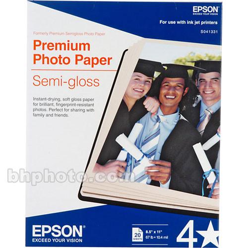 """Epson Premium Photo Paper Semi-Gloss (8.5 x 11"""", 20 Sheets)"""