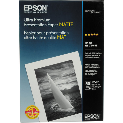 "Epson Ultra Premium Presentation Paper Matte - 13x19"" - 50 Sheets"