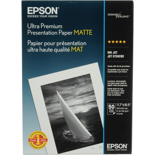 "Epson Ultra Premium Presentation Paper Matte 11.7 x 16.5"" - 50 Sheets"