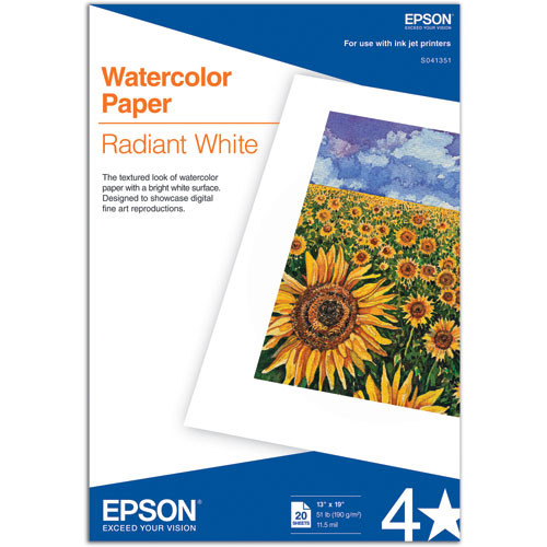 """Epson Watercolor Paper Radiant White (13 x 19"""", 20 Sheets)"""