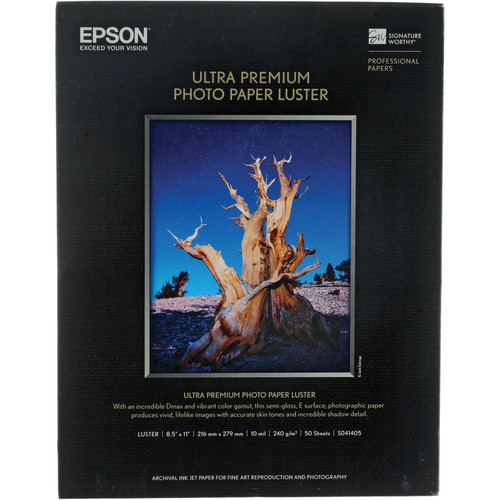 "Epson Ultra Premium Luster Photo Paper - 8.5x11"" - 50 Sheets"