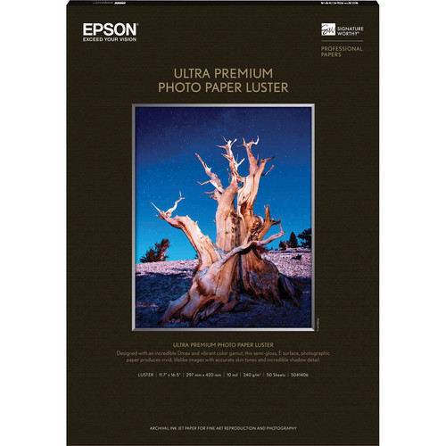 """Epson Ultra Premium Luster Photo Paper (A3, 11.7 x 16.5"""", 50 Sheets)"""