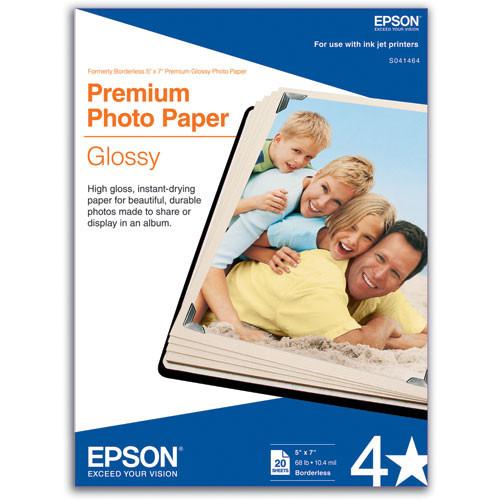 "Epson Premium Photo Paper Glossy (5 x 7"", 20 Sheets)"