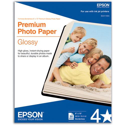 "Epson Premium Photo Paper Glossy (8 x 10"", 20 Sheets)"