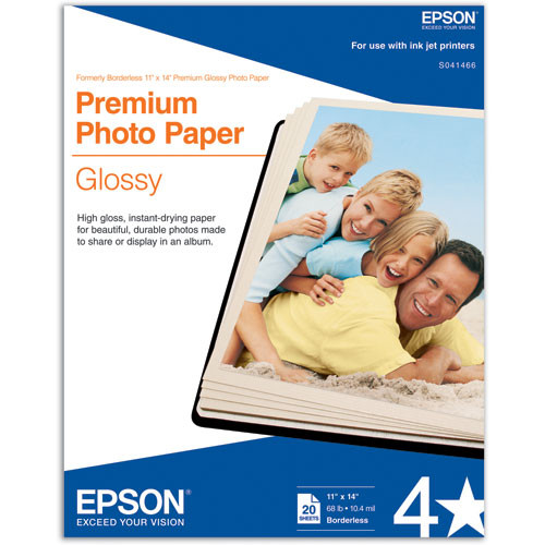 "Epson Premium Glossy Photo Paper - 11x14"" Borderless - 20 Sheets"