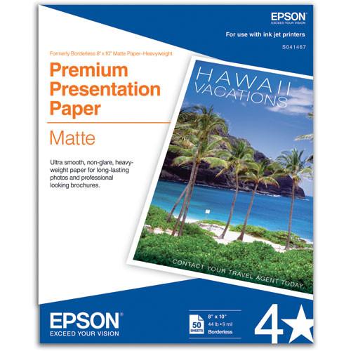 "Epson Premium Presentation Paper Matte (8 x 10"", 50 Sheets)"