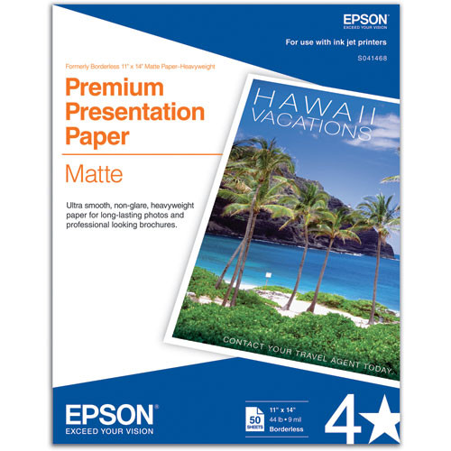 "Epson Premium Presentation Paper Matte (11 x 14"", 50 Sheets)"