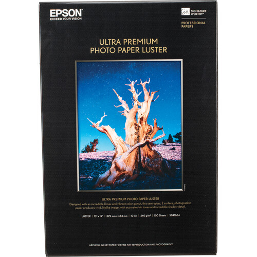 "Epson Ultra Premium Photo Paper Luster (13 x 19"", 100 Sheets)"
