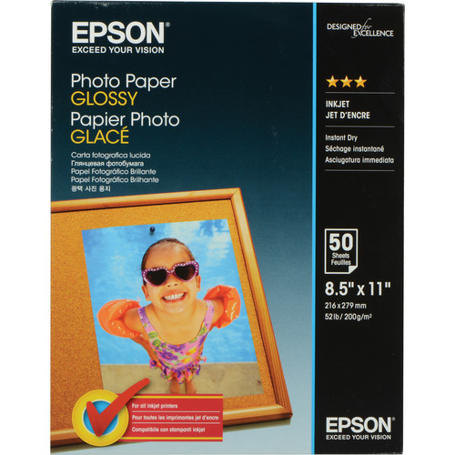 "Epson Glossy Photo Paper (8.5 x 11"", 50 Sheets)"