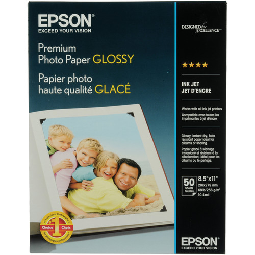 "Epson Premium Glossy Photo Paper - 8.5x11"" - 50 Sheets"