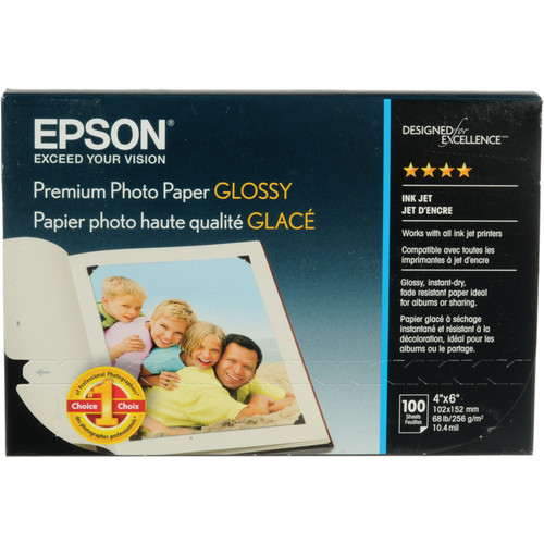 "Epson Premium Photo Paper Glossy (4 x 6"", 100 Sheets)"
