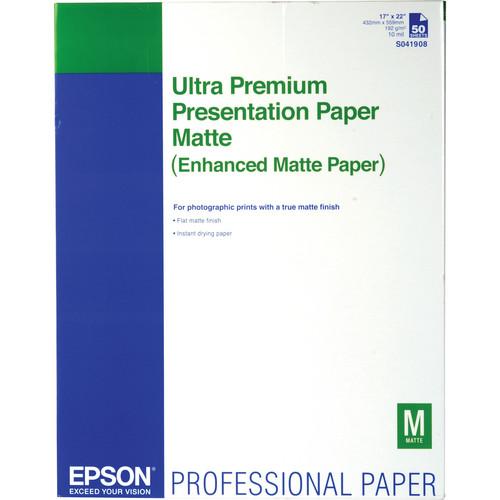 "Epson Ultra Premium Presentation Matte Inkjet Paper (17 x 22"", 50 Sheets)"