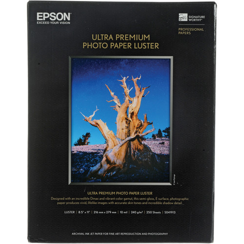 "Epson Ultra Premium Photo Paper Luster - 8.5x11"" (Letter) - 250 Sheets"