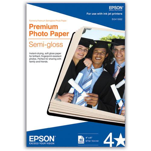 """Epson Premium Semi-Gloss Photo Paper for Inkjet 4x6"""" - 40 Sheets"""