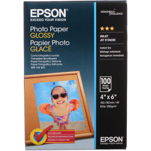 "Epson Glossy Photo Paper  (4 x 6"") / 100 Sheets"