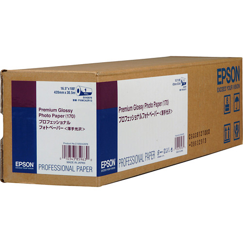 "Epson Premium Glossy Photo Inkjet Paper 170 (16.5"" x 100' Roll)"