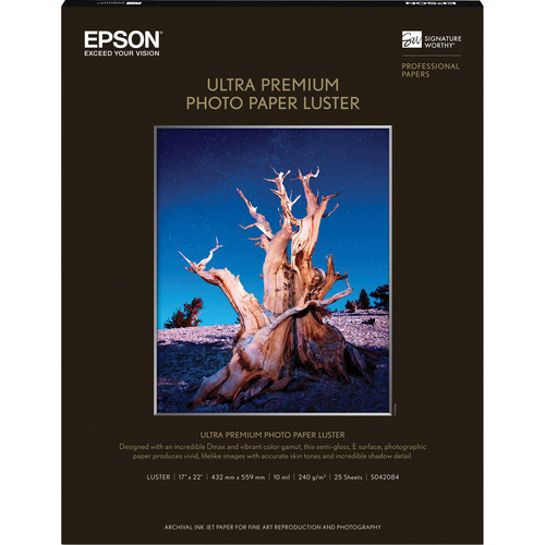 "Epson Ultra Premium Photo Paper Luster (17 x 22"", 25 Sheets)"