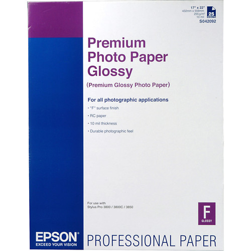 "Epson Premium Photo Paper Glossy (17 x 22"", 25 Sheets)"