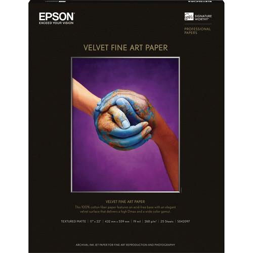 """Epson Velvet Fine Art Paper - 17x22"""" - 25 Sheets"""
