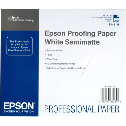 "Epson Proofing Paper White Semimatte (13 x 19"", 100 Sheets)"