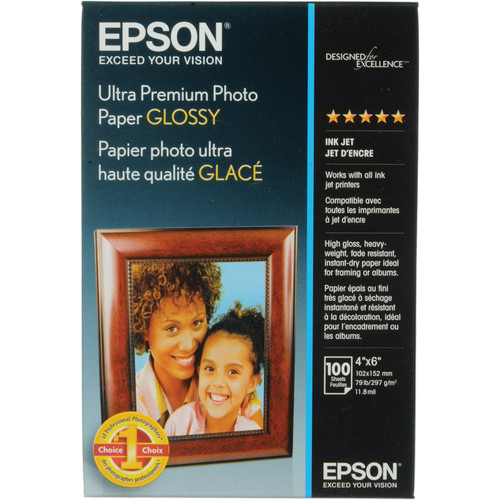"Epson Ultra Premium Photo Paper Glossy (4 x 6"", 100 Sheets)"