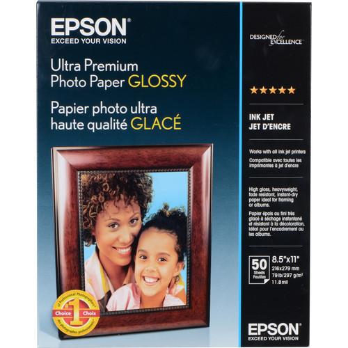 "Epson Ultra Premium Photo Paper Glossy (8.5 x 11"", 50 Sheets)"