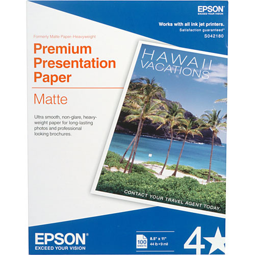 "Epson Premium Presentation Paper Matte (8.5 x 11"", 100 Sheets)"
