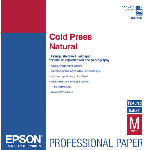 "Epson Cold Press Natural Textured Matte Paper (8.5 x 11"", 25 Sheets)"