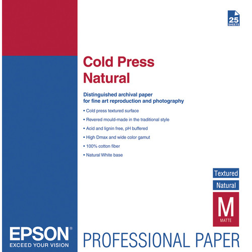 "Epson Cold Press Natural Textured Matte Paper (17 x 22"", 25 Sheets)"