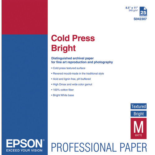 "Epson Cold Press Bright Textured Matte Paper (8.5 x 11"", 25 Sheets)"