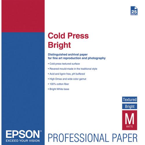 "Epson Cold Press Bright Textured Matte Paper (13 x 19"", 25 Sheets)"