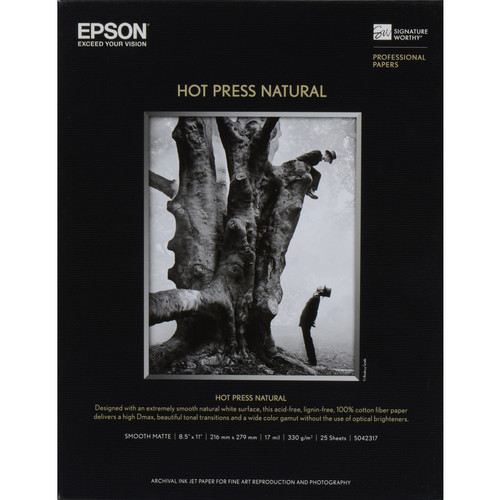 "Epson Hot Press Natural Smooth Matte Paper (17 x 22"", 25 Sheets)"