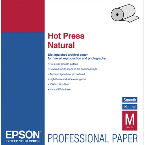 "Epson Hot Press Natural Smooth Matte Archival Inkjet Paper (24"" x 50' Roll)"