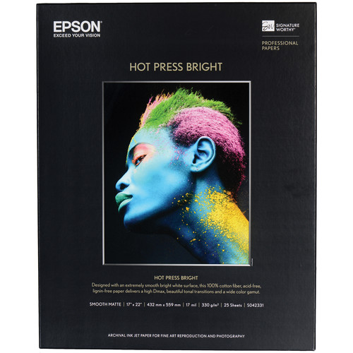 """Epson Hot Press Bright Smooth Matte Paper (8.5 x 11"""", 25 Sheets)"""