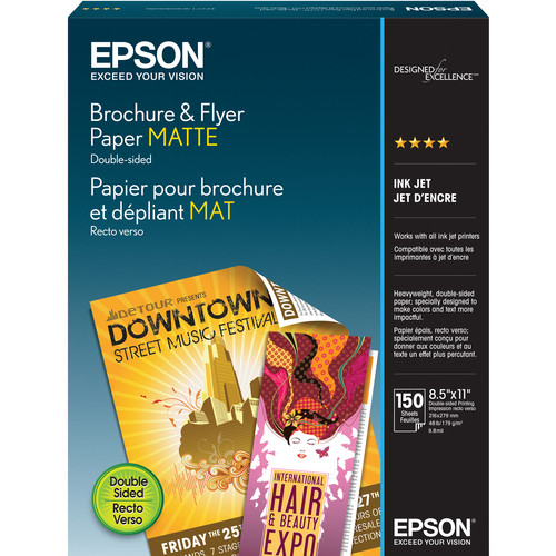 "Epson Brochure & Flyer Paper Matte (8.5 x 11"", 150 Sheets)"