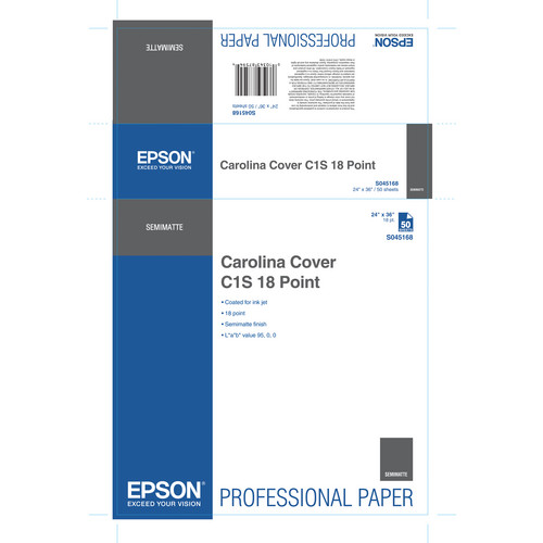 """Epson Carolina Cover C1S 18 Point Paper (24 x 36"""", 50 Sheets)"""