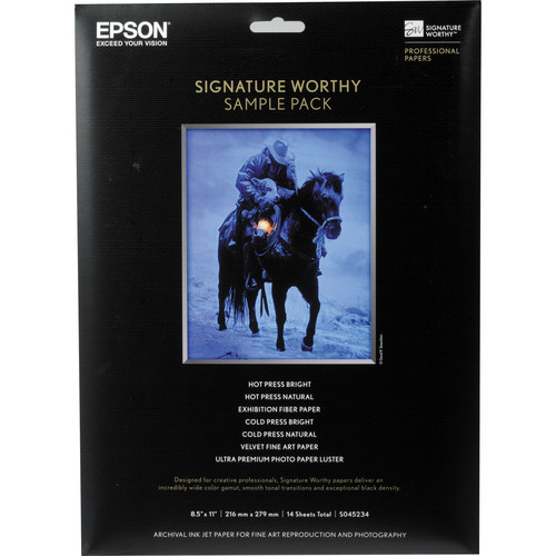 """Epson Signature Worthy Sample Pack (8.5 x 11"""", 14 Sheets)"""