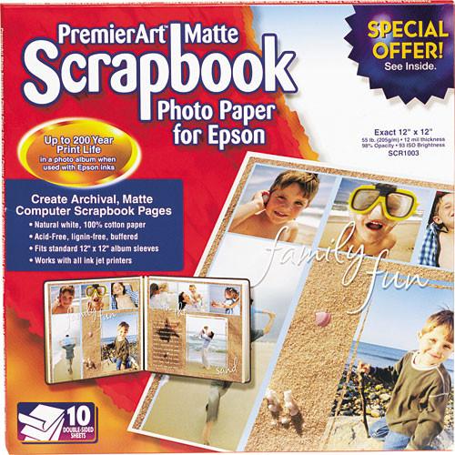 """Epson PremierArt Matte Scrapbook Photo Paper - 12x12"""" - 10 Sheets"""