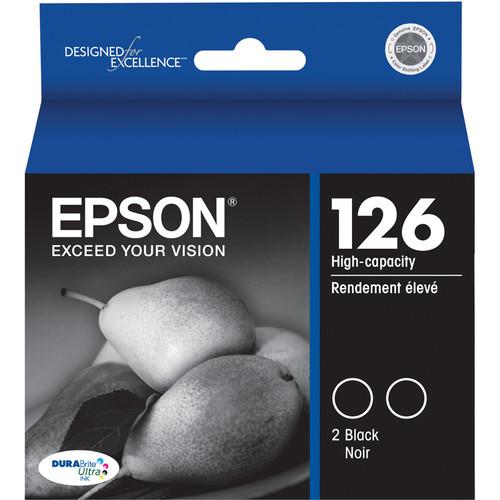 Epson T126120-D2 126 Dual Pack High-Capacity Black Ink Cartridges