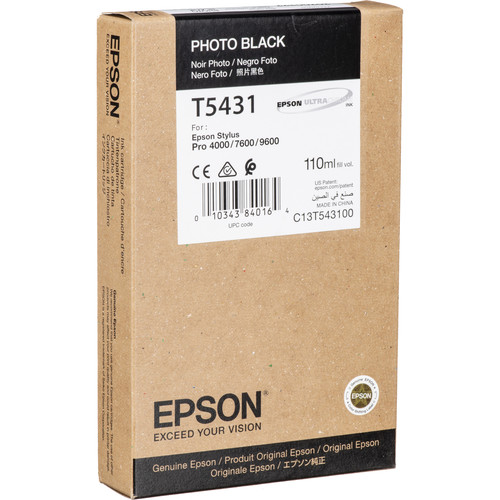 Epson UltraChrome, Photo Black Ink Cartridge for Epson Stylus Pro 4000, 7600 & 9600 Printers (110ml)