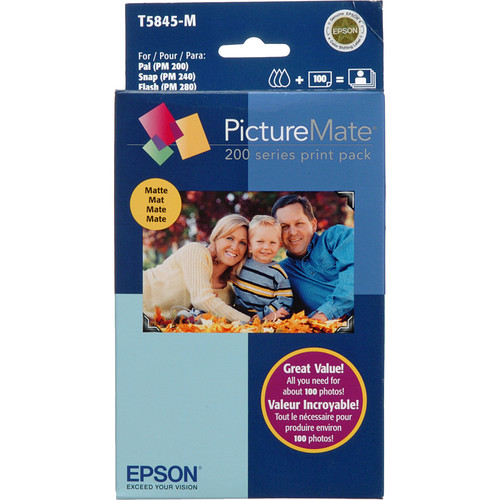 Epson PictureMate 200-Series Matte Print Pack - 100 Prints