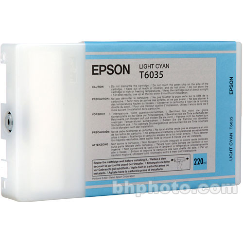 Epson T603500 Light Cyan UltraChrome K3 Ink Cartridge (220 ml)