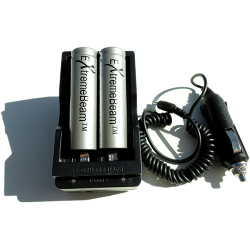 ExtremeBeam ExtremeBeam Car and Home Battery Charger With 2 18650 Li-Ion Batteries