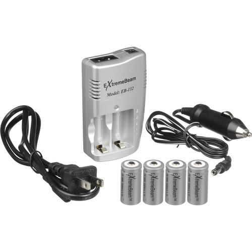 ExtremeBeam CR123A 3.7V Charger Kit with 4 Rechargeable Lithium-ion Batteries