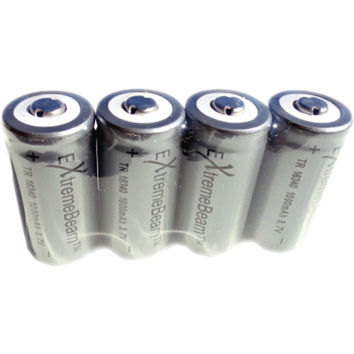 ExtremeBeam Tungsten Carbide 4.2V CR123 Rechargeable Batteries (Four)
