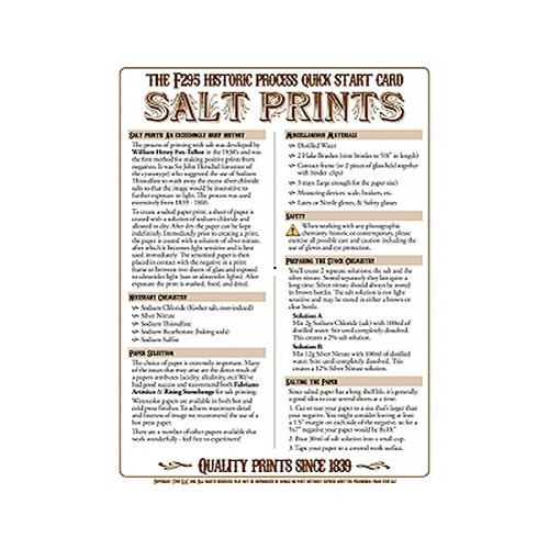 F295 Historic Process Laminated Reference Card for Salt Print Processing