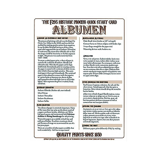 F295 Historic Process Laminated Reference Card for Albumen Processing